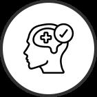 Piirretty ihmisen pää, jossa +- merkki pään sisällä