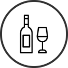 Piirretty viinipullo ja lasi
